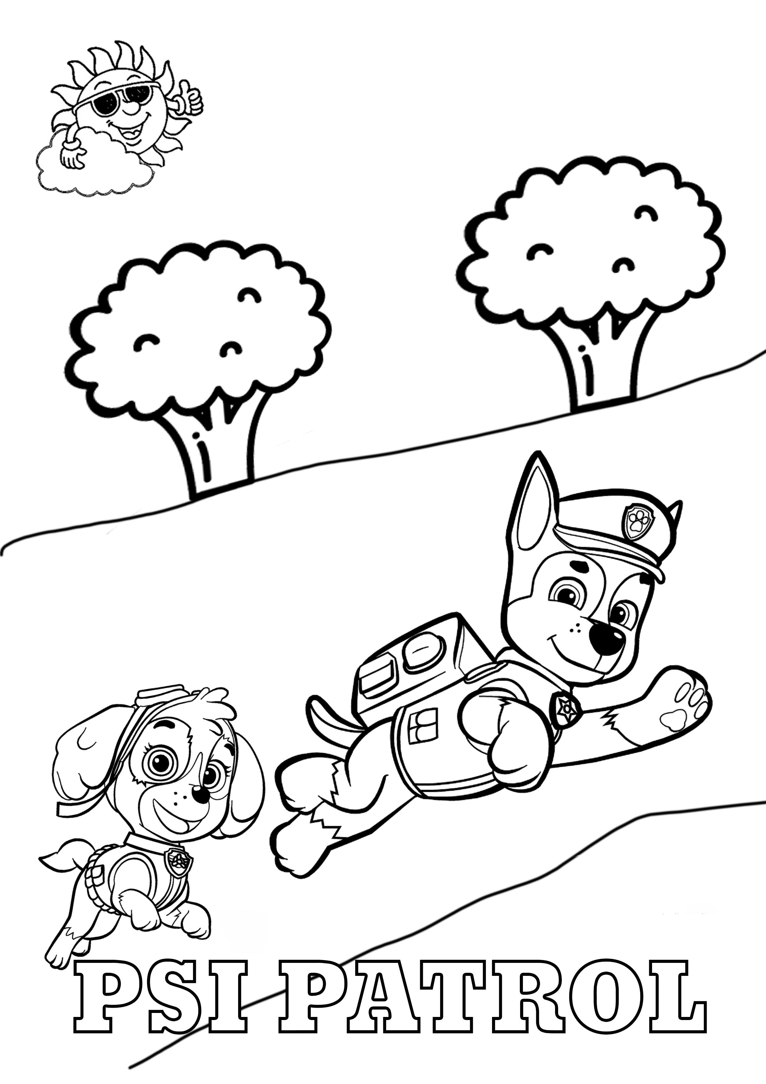Kolorowanki Psi Patrol do druku - Chase i Skye