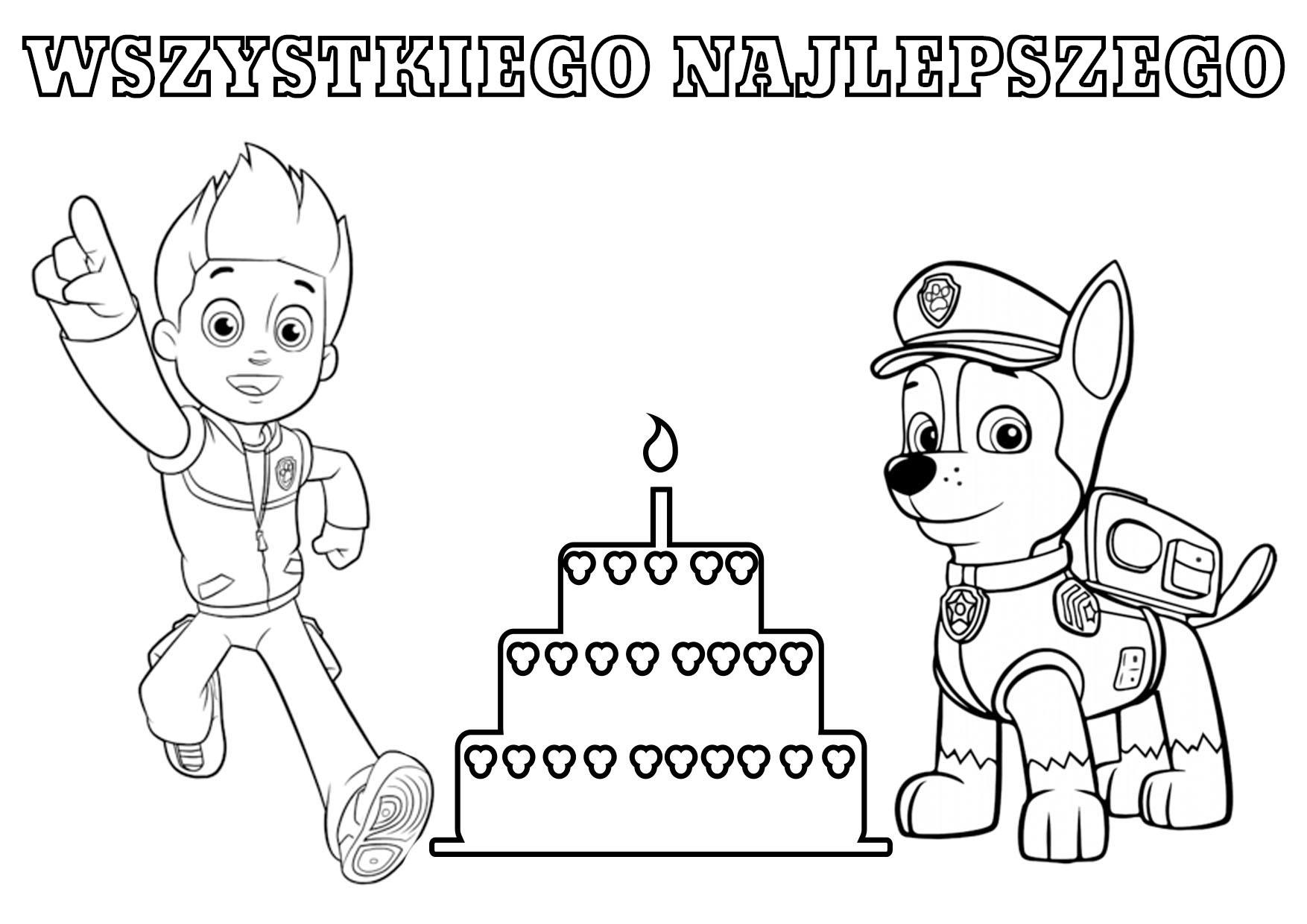 Tort urodzinowy Psi Patrol - kolorowanka do wydruku