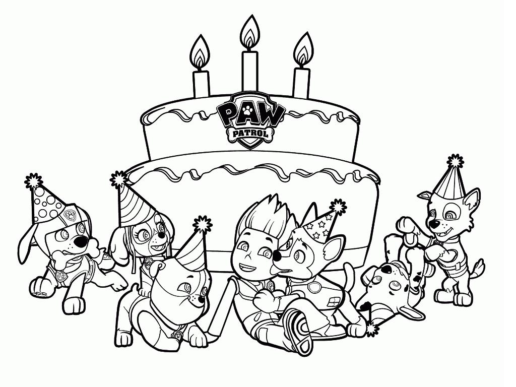Kolorowanka Psi Patrol - Tort Urodzinowy do wydruku