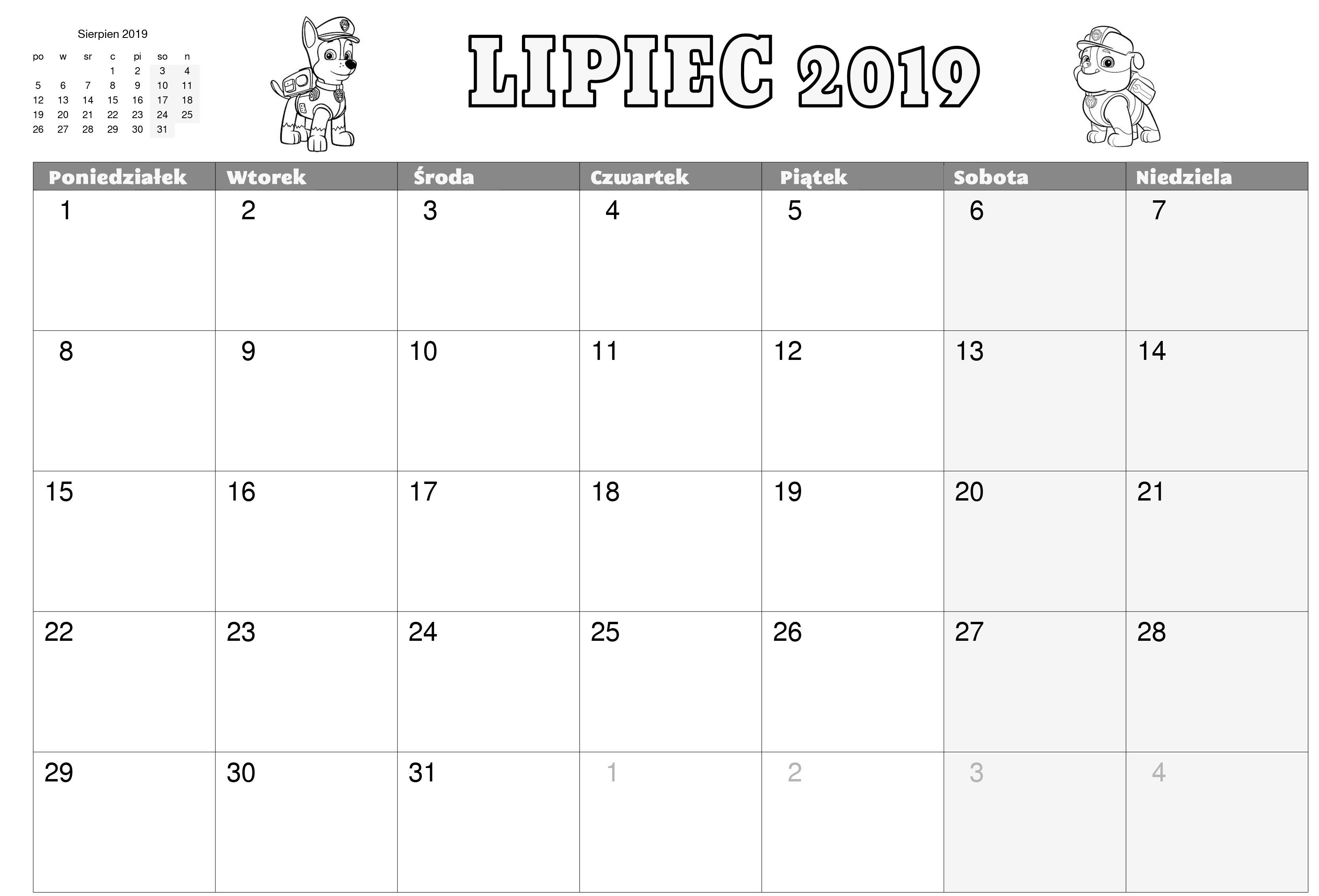 Kalendarz Psi Patrol do wydruku - Lipiec 2019