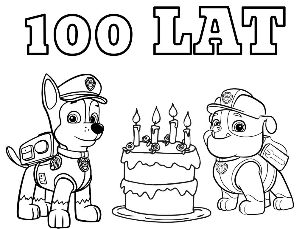 Psi Patrol Tort Urodzinowy Chase I Rubble Kolorowanki Do