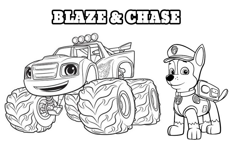 Kolorowanka do druku Blaze i Chase