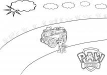 Chase i jego pojazd. Kolorowanka Psi Patrol