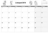 Listopad 2019: Kalendarz Psi Patrol do wydruku z kolorowanką