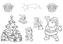 Kolorowanka Mikołaj i Psi Patrol do druku